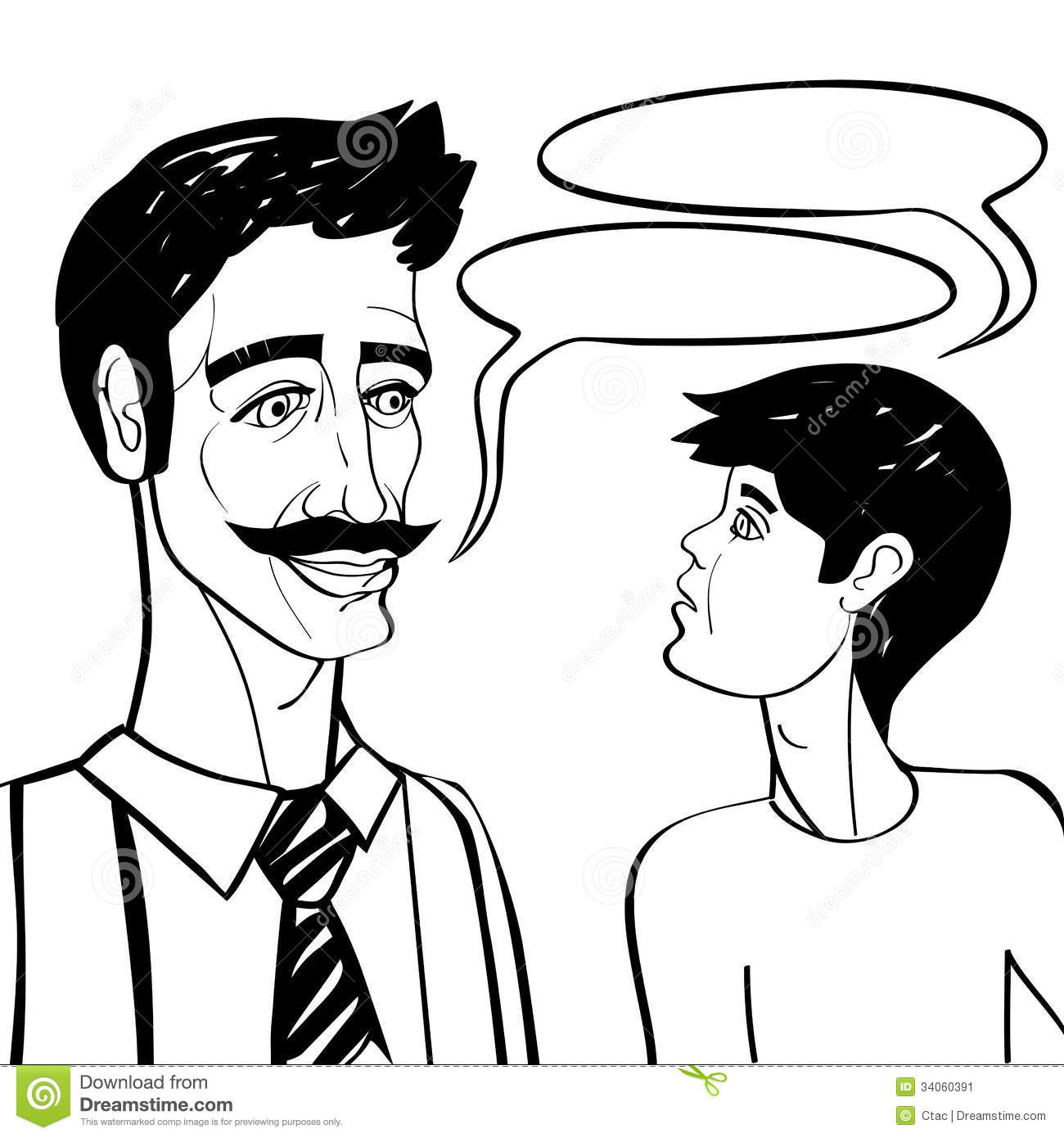 Dad And Son Talking Clipart.