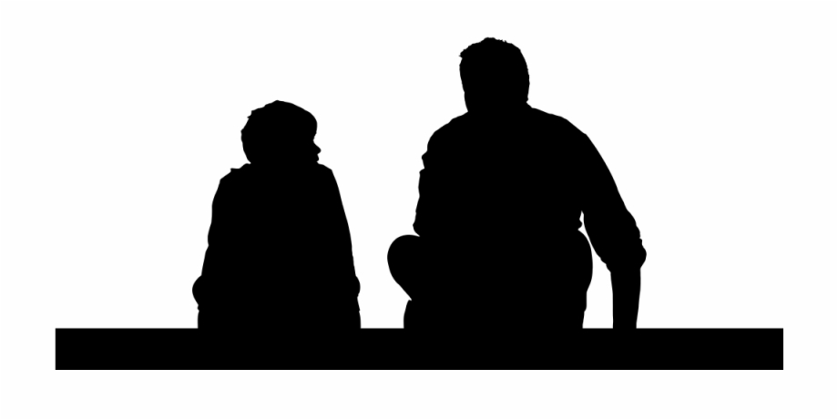 Father And Son Sitting Silhouette.