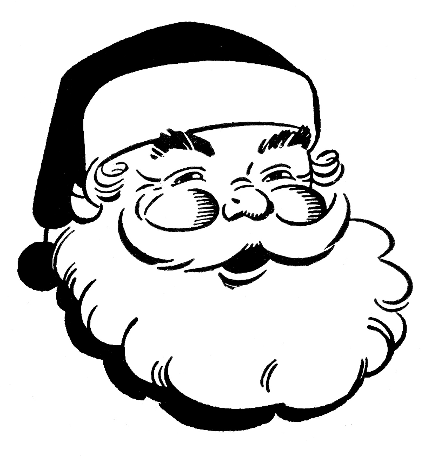 Father christmas black and white clip art.