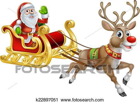 Santa Christmas Sleigh Sled Clipart.