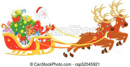 Christmas sleigh of santa claus. Magic reindeers flying father.