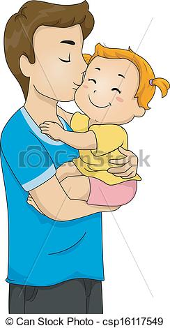 Baby and father clipart.
