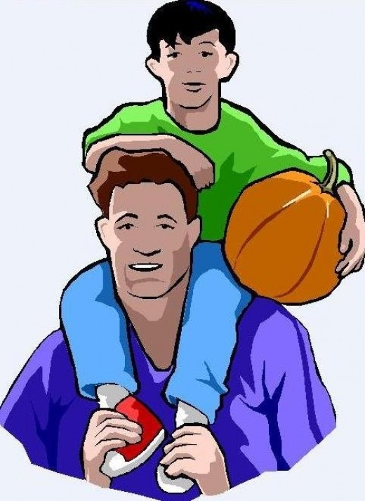 Father and son love clipart.