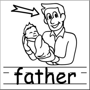 Clip Art: Basic Words: Father B&W Labeled I abcteach.com.