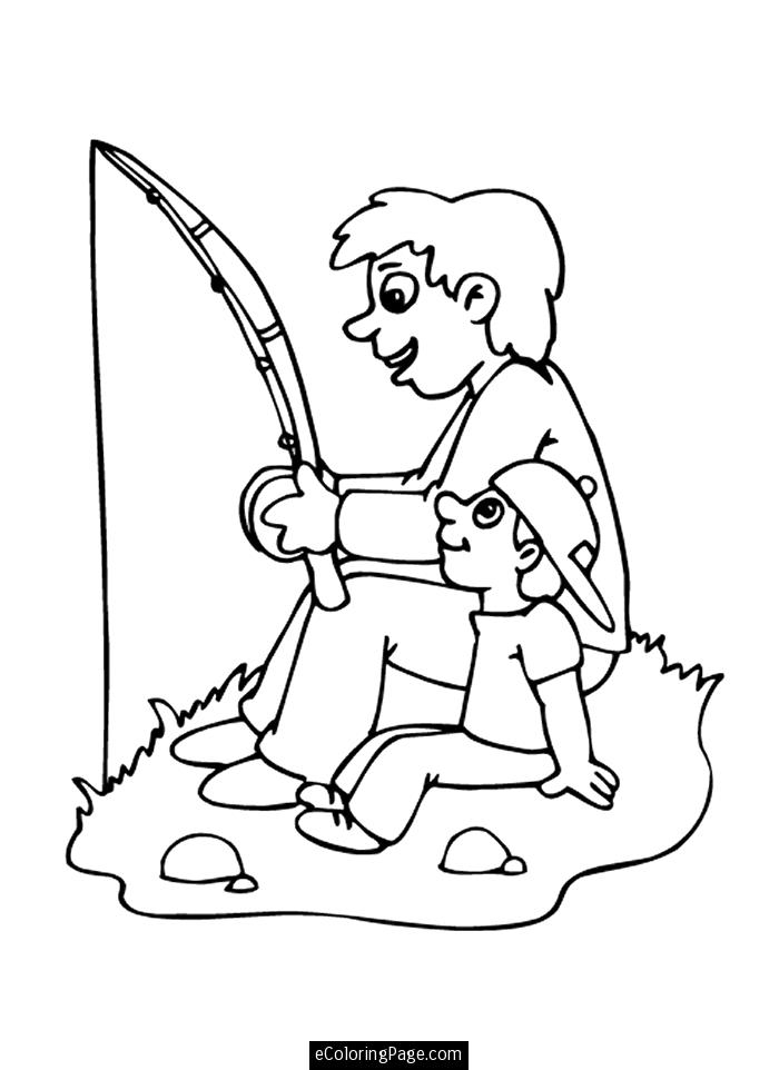 Happy Fathers Day Father and Son Go Fishing Coloring Page for Kids.