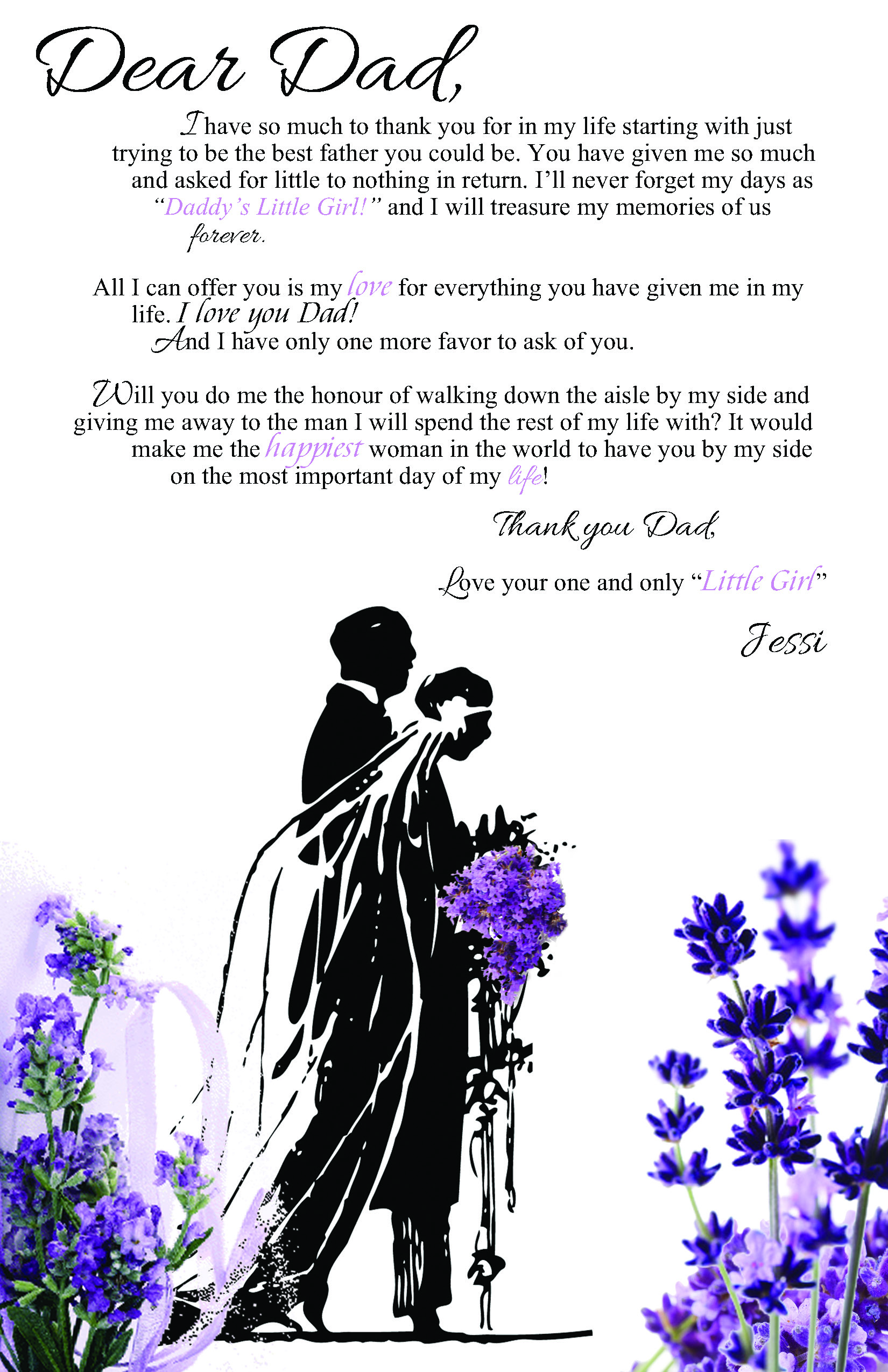 Dear Dad (Letter to Father of the Bride).