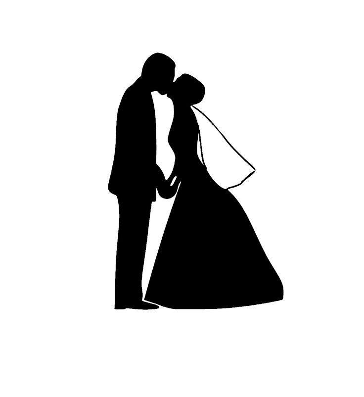 Bride And Father Of The Bride Silhouette Wedding Clipart.