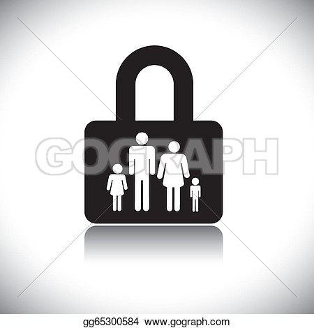 Father Protecting Black And White Clipart.
