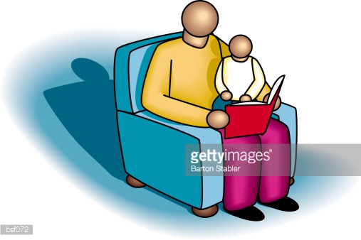 Father Putting Child To Bed Stock Illustration.