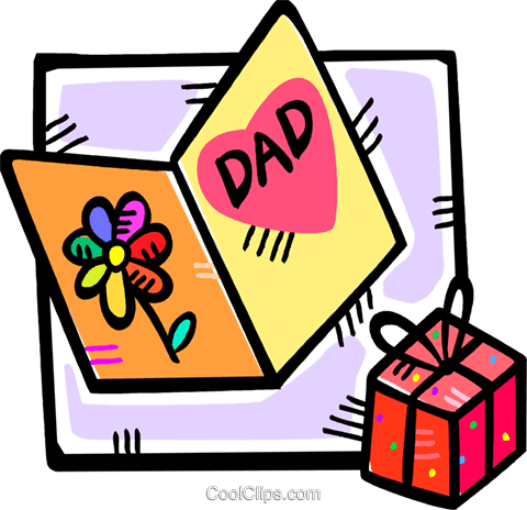 fathers day card and a gift Royalty Free Vector Clip Art.