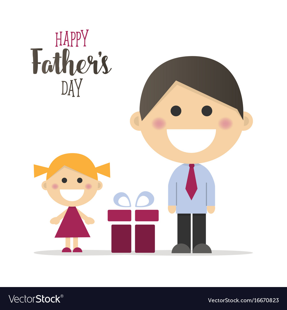 Happy fathers day card with a gift.