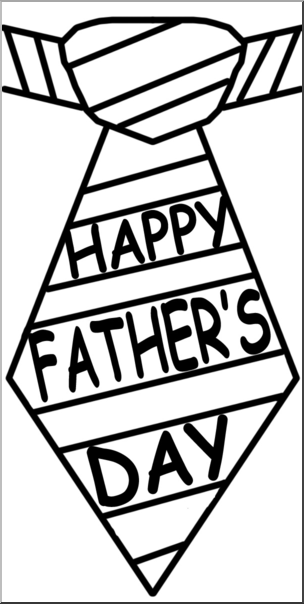 Clip Art: Happy Father\'s Day Tie B&W I abcteach.com.