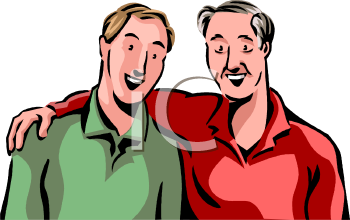 Royalty Free Clipart Image: Grown Man and His Elderly Father.
