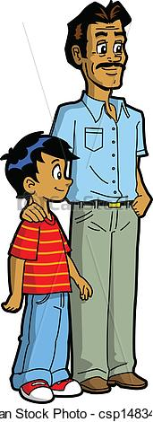 Indian father and son clipart.