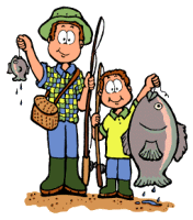 Dad And Son Fishing Clipart.