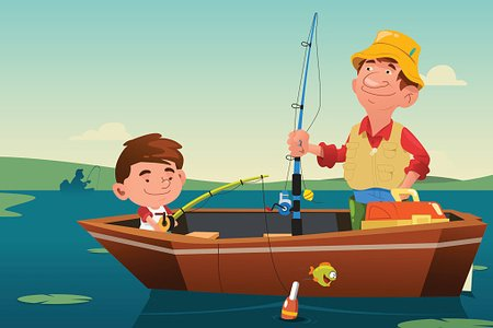 Father Son Fishing Clipart Image.