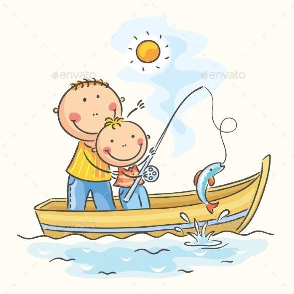 Father and son in the boat, fishing.