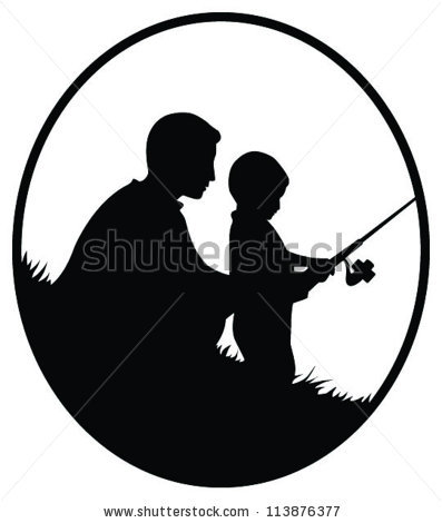 Man And Boy Fishing Silhouette.
