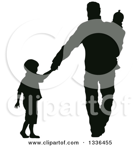 Father Walking Out On His Child Clipart.
