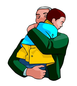 Father hugging child clipart.