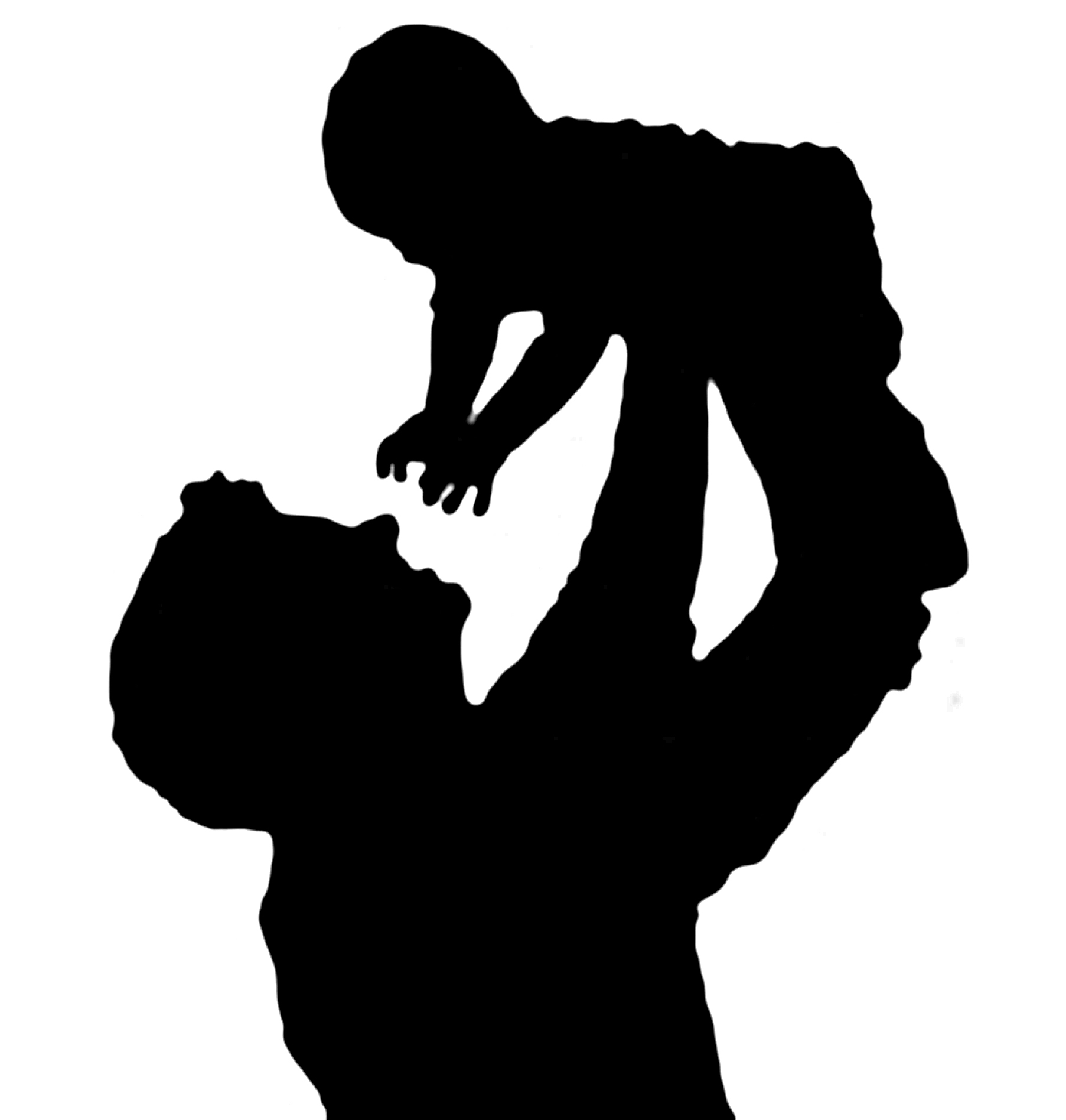 Father holding child clipart.