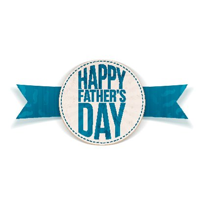 Happy Fathers Day festive Banner with blue Text Clipart.