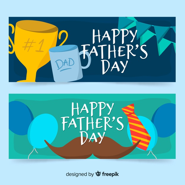 Hand drawn father\'s day banners Vector.