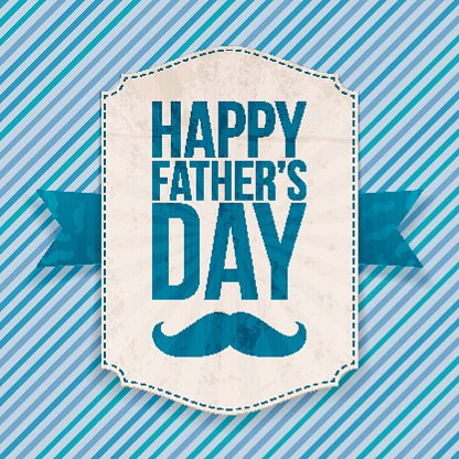Happy Fathers Day realistic Banner with Ribbon Clipart Image.