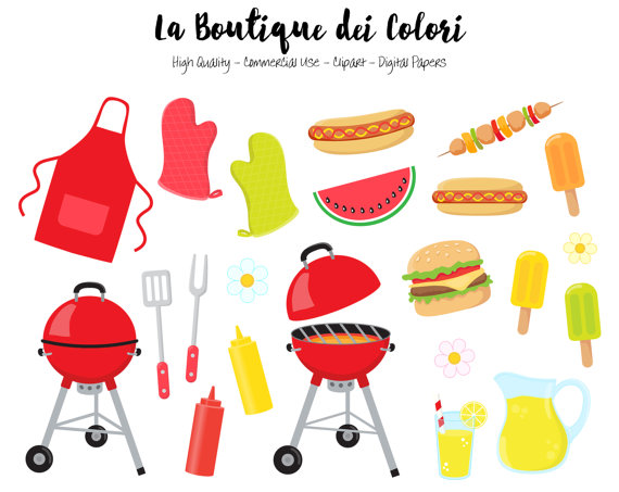 BBQ Clipart, Cute Digital illustrations PNG, Summer Barbeque.
