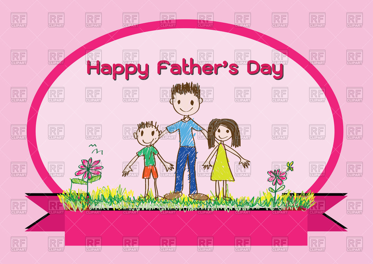 Cute happy father's day card with family Stock Vector Image.
