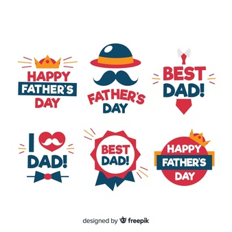 Happy fathers day creative logo Vector.