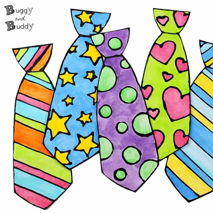 Father\'s Day Craft for Kids: Black Glue and Watercolor Tie.