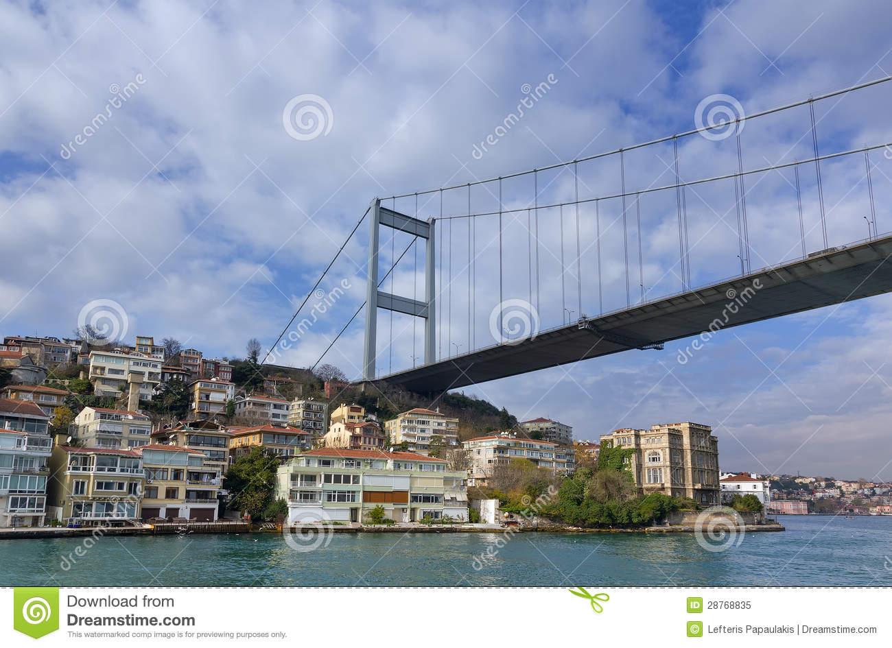 Fatih Sultan Mehmet Bridge Over Hisarustu Neighborhood, Istanbul.