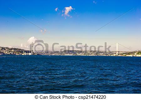 Stock Photo of Fatih Sultan Mehmet Bridge over the Bosphorus.