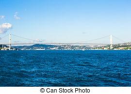 Stock Images of Fatih Sultan Mehmet Bridge in Istanbul City.