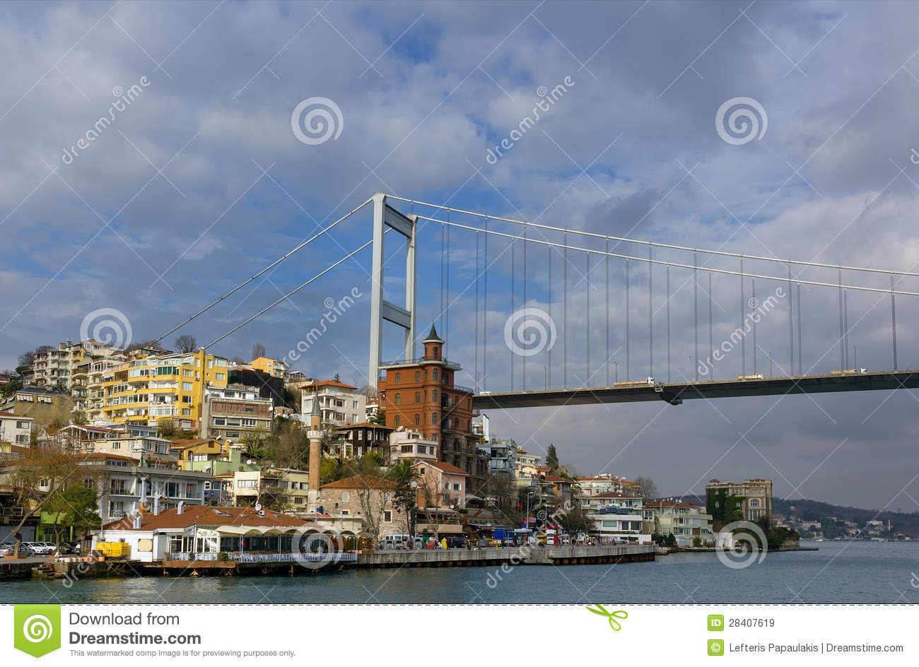 Fatih Sultan Mehmet Bridge, Istanbul, Turkey Royalty Free Stock.
