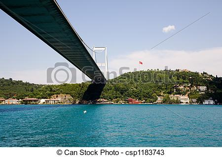 Stock Photos of Fatih Sultan Mehmet Bridge. Bosphorus Istanbul.