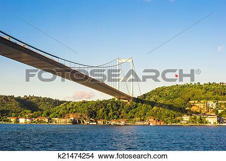 Stock Photo of Fatih Sultan Mehmet Bridge in Istanbul,Turkey.