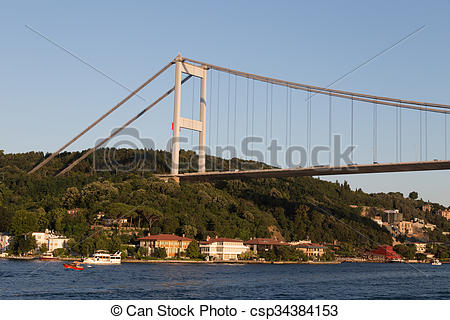 Stock Images of Fatih Sultan Mehmet Bridge, Istanbul.