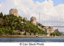 Stock Photo of The Fatih Sultan Mehmet Bridge With Turkish Flag.