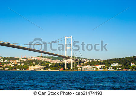 Stock Photographs of Fatih Sultan Mehmet Bridge over the Bosphorus.