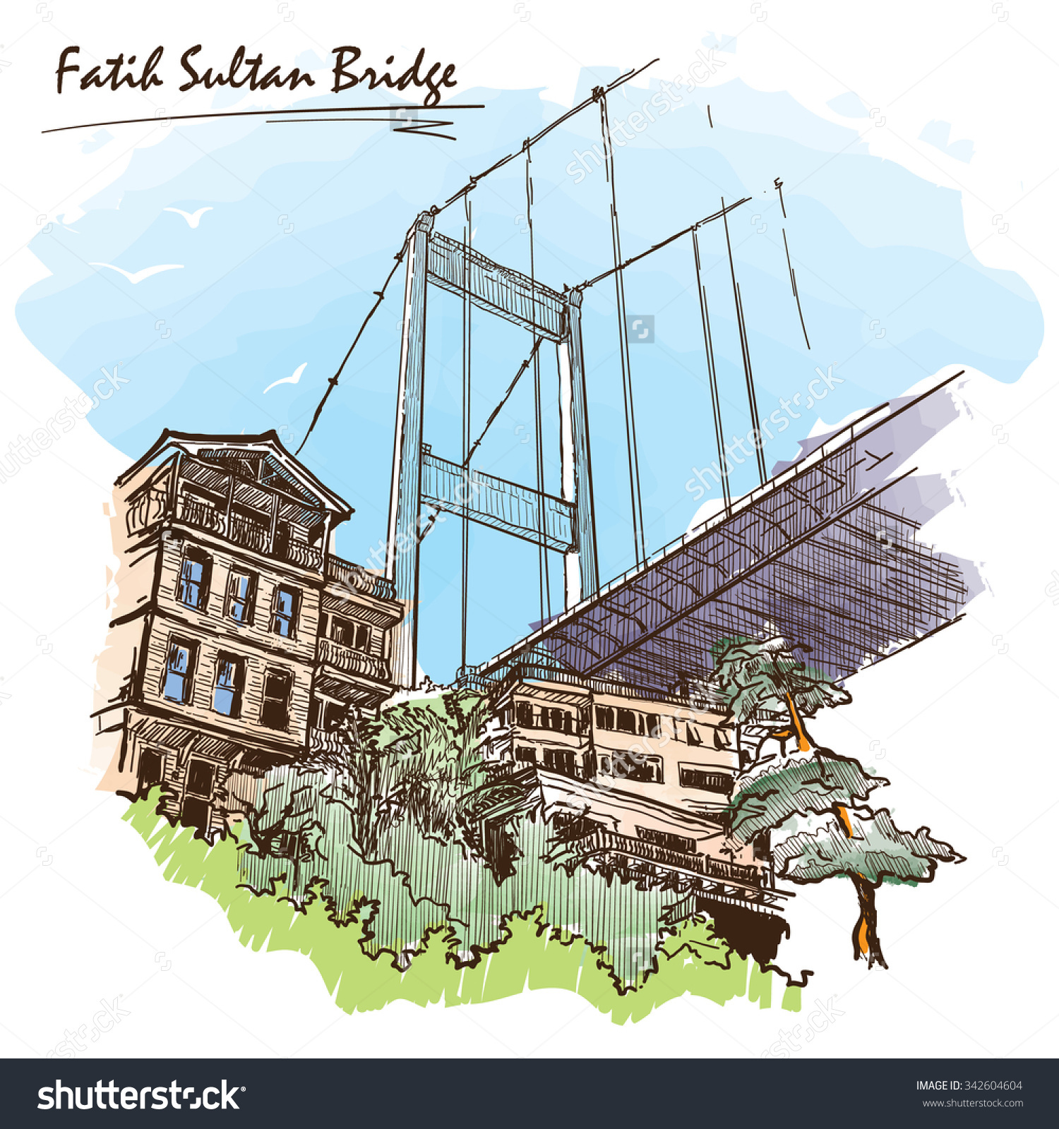 View Fatih Sultan Mehmet Suspension Bridge Stock Vector 342604604.