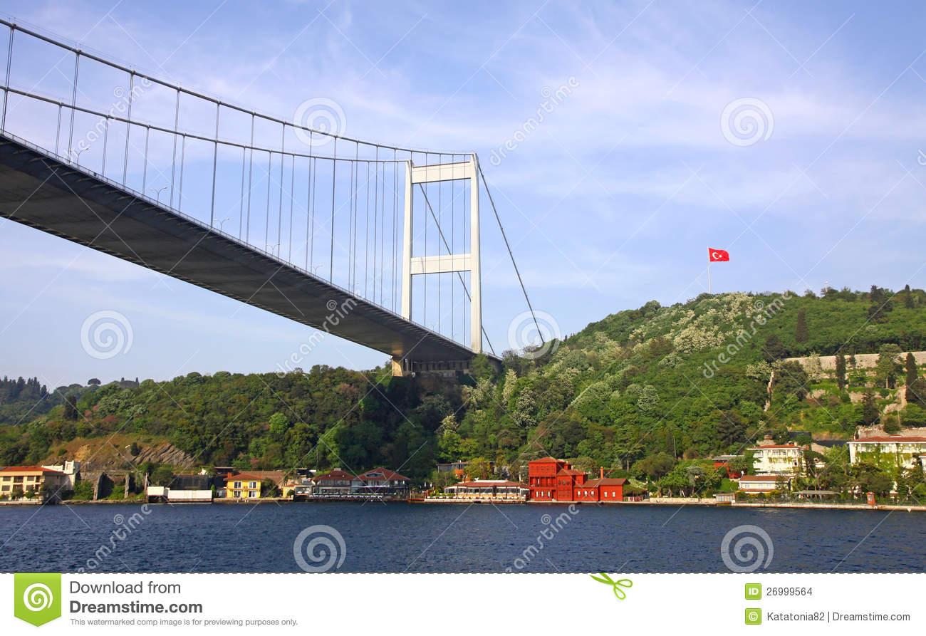 Fatih Sultan Mehmet Bridge Over Bosphorus Strait Stock Images.