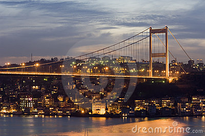 The Fatih Sultan Mehmet Bridge Stock Photo.