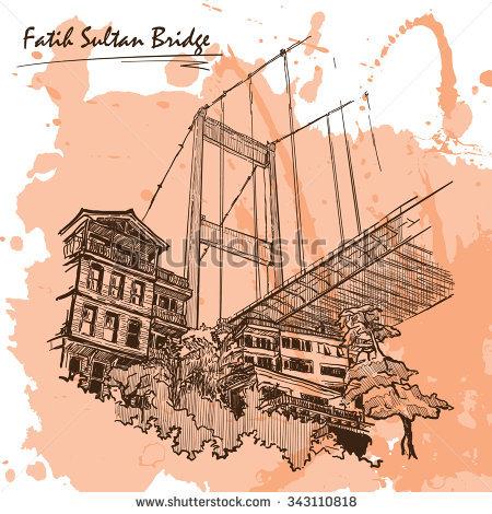 View Fatih Sultan Mehmet Suspension Bridge Stock Vector 342604604.
