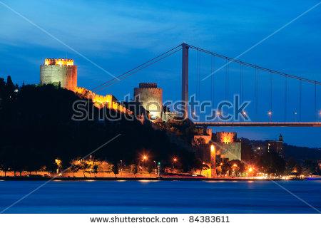 Fatih Sultan Mehmet Bridge And Rumeli Fortress At Night In.
