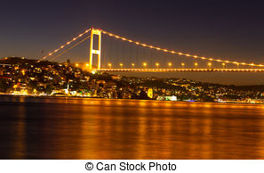 Stock Photographs of Fatih Sultan Mehmet Bridge over the Bosphorus.