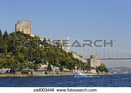 Pictures of Turkey, Istanbul, View of Rumeli fort and Fatih Sultan.