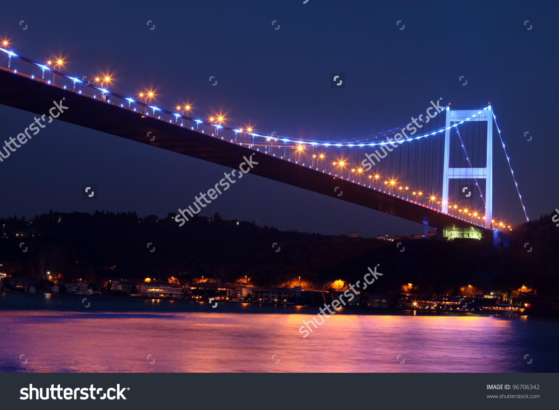 Fatih Sultan Mehmet Bridge At Night,In Istanbul,Turkey Stock Photo.