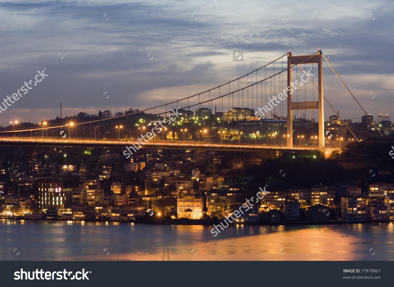 The Fatih Sultan Mehmet Bridge, In Istanbul. Turkey Stock Photo.